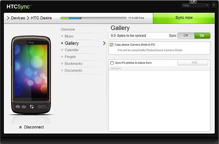 Программа HTC Sync